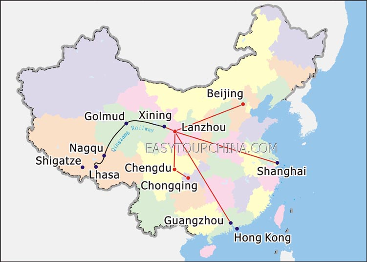 Lhasa China Map.Tibet Train Map At Tibet Train Travel