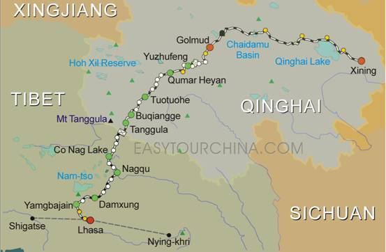 Qinghai-Tibet train route (Xining - Lhasa),Click This To See The Big One
